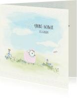 Geboortekaartjes - Geboortekaart schaapjes 2e kindje - zusje voor broer