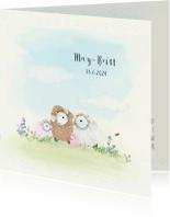 Geboortekaartjes - Geboortekaart schaapjes 2e kindje zusje