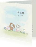 Geboortekaartjes - Geboortekaart schaapjes 3e kindje - zusje