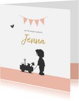 Geboortekaartjes - Geboortekaart silhouet meisje en vlaggen