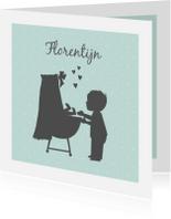 Geboortekaartjes - Geboortekaart silhouet wieg broertje