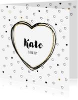 Geboortekaartjes - Geboortekaart, stoer met zwarte en gouden hartjes
