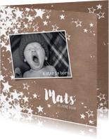Geboortekaartjes - Geboortekaart stoere hippe fotokaart met sterren kraft-stijl