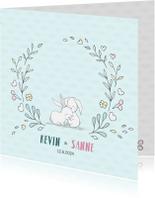 Geboortekaartjes - Geboortekaart tweeling konijntjes uniseks