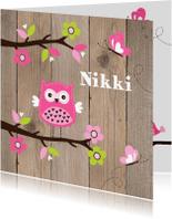 Geboortekaartjes - Geboortekaart uiltje boom houtlook
