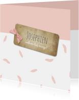 Geboortekaartjes - Geboortekaart veertjes roze - BC