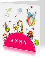 Geboortekaartjes - Geboortekaart vrolijke bol Meisje