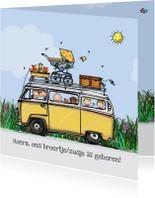 Geboortekaartjes - Geboortekaart VW bus geel klant