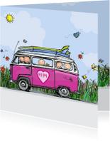 Geboortekaartjes - Geboortekaart VW bus roze hart