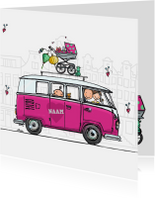 Geboortekaartjes - Geboortekaart vw busje roze klant