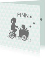 Geboortekaartjes - Geboortekaart zusje bakfiets av