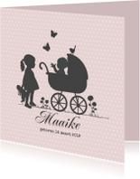 Geboortekaartjes - Geboortekaart zusje met wagen av