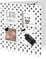 Geboortekaartjes - Geboortekaart zwart-wit vlakken