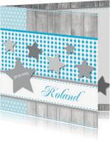 Geboortekaartjes - Geboortekaartje 63 ruitje hout ster