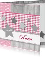 Geboortekaartjes - Geboortekaartje 64 ruitje hout ster