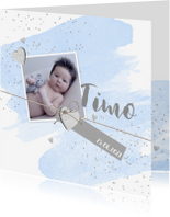 Geboortekaartjes - Geboortekaartje aquarel foto label hartjes blauw