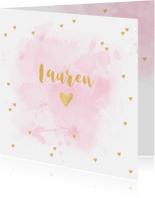 Geboortekaartjes - Geboortekaartje aquarel hartjes goud roze