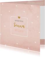 Geboortekaartjes - Geboortekaartje aquarel roze hartjes - BC