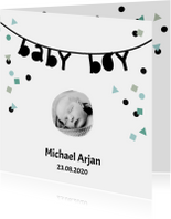 Geboortekaartjes - Geboortekaartje baby boy slinger confetti