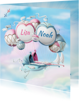 Geboortekaartjes - Geboortekaartje ballonnen met wiegjes tweeling jongen meisje