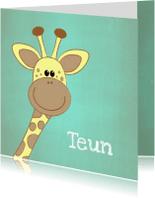 Geboortekaartjes - Geboortekaartje blauw groen met een lief girafje