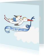 Geboortekaartjes - Geboortekaartje blauw ooievaar