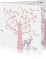 Geboortekaartjes - Geboortekaartje boom hertje