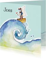 Geboortekaartjes - Geboortekaartje bootje op zee