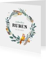 Geboortekaartjes - Geboortekaartje bohemian met geïllustreerd vogeltje