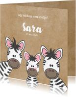 Geboortekaartjes - Geboortekaartje broertje of zusje met schattige zebra's