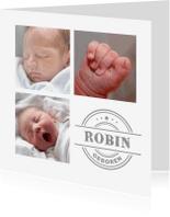 Geboortekaartjes - Geboortekaartje collage 3 foto's