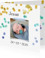 Geboortekaartjes - Geboortekaartje confetti origineel