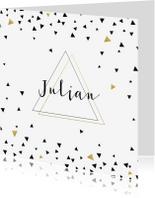 Geboortekaartjes -  Geboortekaartje driehoekjes met goud