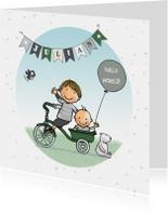 Geboortekaartjes - Geboortekaartje fiets bakje broer