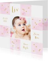 Geboortekaartjes - Geboortekaartje foto aquarel hartjes vakjes