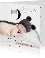 Geboortekaartjes - Geboortekaartje foto maan Luna