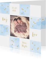 Geboortekaartjes - Geboortekaartje foto tweeling aquarel hartjes lichtblauw