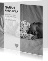 Geboortekaartjes - Geboortekaartje Foto Zwart Wit