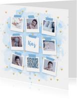 Geboortekaartjes - Geboortekaartje fotocollage aquarel hartjes blauw