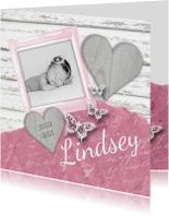 Geboortekaartjes - Geboortekaartje fotolijstje hartjes vlinders roze