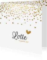 Geboortekaartjes - Geboortekaartje gouden hartjes