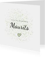Geboortekaartjes - Geboortekaartje groene dots en hartje