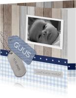 Geboortekaartjes - Geboortekaartje Guus hout labels