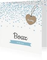 Geboortekaartjes - Geboortekaartje hartjes confetti