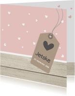 Geboortekaartjes - Geboortekaartje hartjes en hout