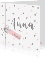 Geboortekaartjes - Geboortekaartje hartjes label lief meisje