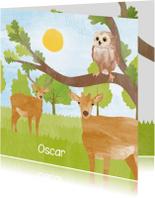 Geboortekaartjes - Geboortekaartje hert en uil