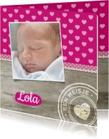 Geboortekaartjes - Geboortekaartje Hip Hout Roze
