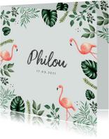 Geboortekaartjes - Geboortekaartje hip met flamingo's en bladeren