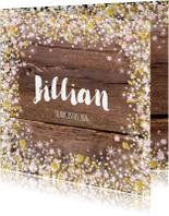 Geboortekaartjes - Geboortekaartje hout bloemetjes hartjes en sterretjes